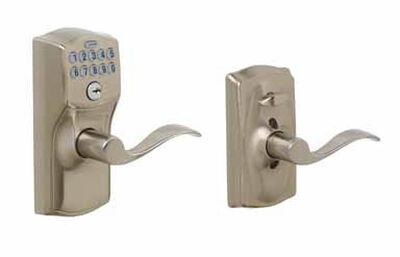 Schlage Electronic Keypad Entry Lock Camelot Satin Nickel Steel 2 Grade Left Handed Right Hand