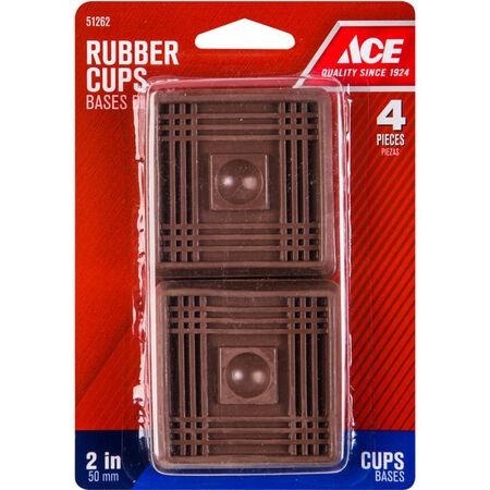 Ace Rubber Square Caster Cup Brown 2 in. W x 2 in. L 4 pk