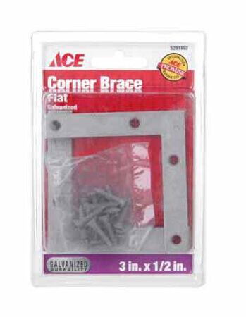 Ace Flat Corner Brace 3 in. x 1/2 in. Galvanized Steel