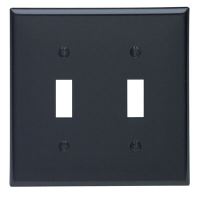 Leviton 2 gang Black Nylon Toggle Wall Plate 1 pk