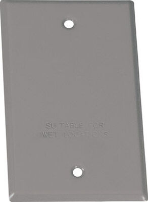 Sigma Rectangle Steel 1 gang Blank Box Cover For Wet Locations Gray