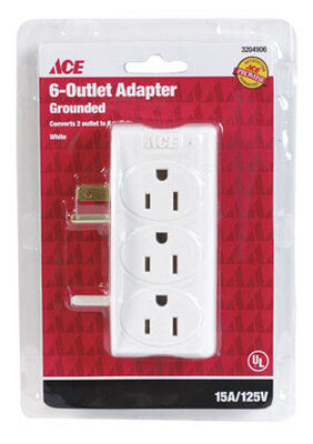 Ace Grounded 6-Outlet Adapter White 15 amps 125 volts 1 pk
