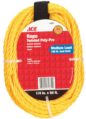 Ace 1/4 in. Dia. x 50 ft. L Twisted Poly Rope Yellow