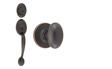 Coventry Oil-Rubbed Bronze Door Handleset with Single Cylinder Deadbolt and Egg Knob Interior