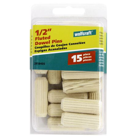 Wolfcraft Fluted Birch Dowel Pin 1/2 in. Dia. x 1/2 in. L