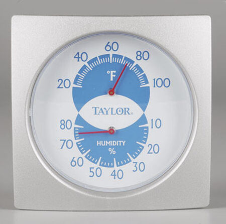 Taylor Indoor Humidiguide and Thermometer Indoor 20 to 100 deg. F 4 in. Silver