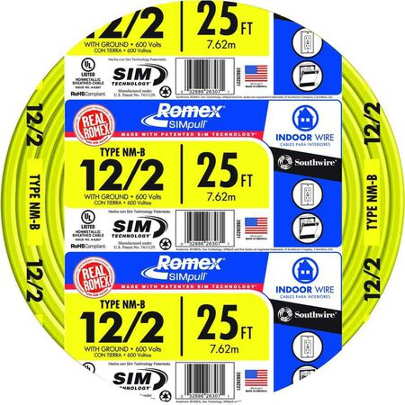 Southwire 25 ft. 12/2 Romex Type NM-B WG Non-Metallic Wire Yellow