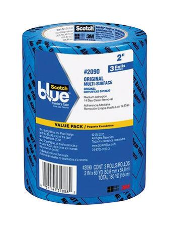 Scotch Blue 2 in. W x 60 yd. L General Purpose Painter's Tape Medium Strength Blue 3 pk
