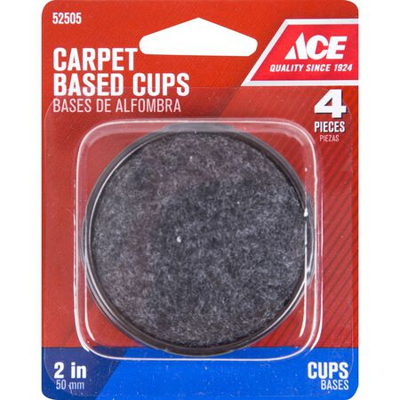 Ace Plastic Round Caster Cup Black 2 in. W 4 pk