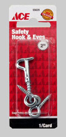 Ace 5/32 2 in. L Zinc Plated Steel Hook and Eyes 1 pk