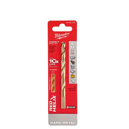 Milwaukee RED HELIX 9/32 in. Dia. x 4-5/16 in. L Cobalt Steel THUNDERBOLT Drill Bit 1 pc.