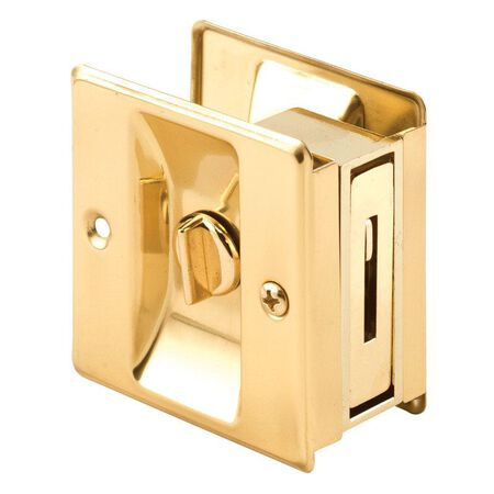 Prime-Line Polished Pocket Door Privacy Lock Brass 1 pk