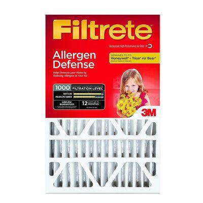 3M Filtrete Allergen Defense 20 in. L x 25 in. W x 4 in. D Fiberglass Air Filter