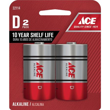 Ace D Alkaline Batteries 1.5 volts 2 pk