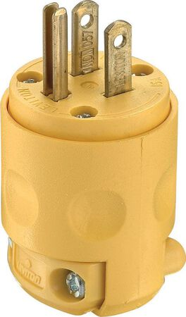 Leviton Commercial PVC Grounding Straight Blade Plug 5-15P 18-12 AWG 2 Pole 3 Wire Yellow