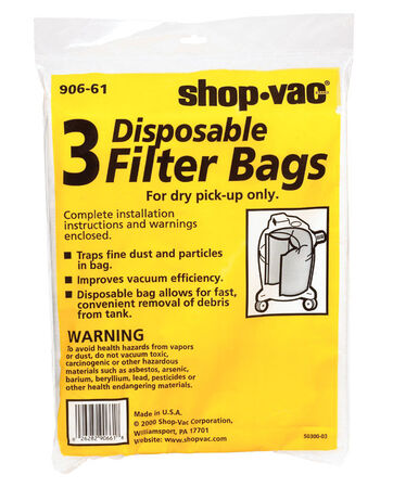 Shop-Vac Wet/Dry Vac Bag 5-8 3 pk For Dry Pick Up Only