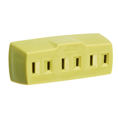 Ace Polarized Triple Outlet Adapter Ivory 15 amps 125 volts 1 pk