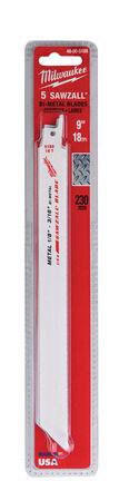 Milwaukee 9 in. L 18 TPI Bi-Metal Sawzall Blade 5 pk