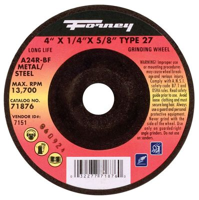 Forney 4 in. Dia. x 5/8 in. x 1/4 in. thick Metal Grinding Wheel
