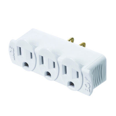 Ace Grounded Triple Outlet Adapter White 15 amps 125 volts 1 pk