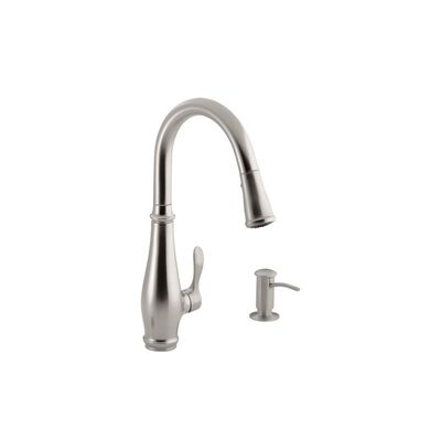 Kohler Cruette Contemporary One Handle Brushed Nickel Pulldown Kitchen Faucet