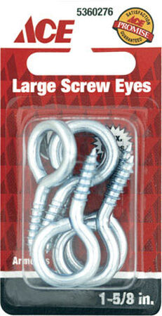 Ace 3/16 1-5/8 in. L Zinc-Plated Steel Screw Eye 6 pk