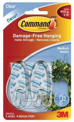 3M Command Medium Hook 2-3/8 in. L Plastic 2 lb. per Hook 2 pk