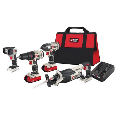 Porter Cable 20V MAX 4-Tool Lithium-Ion Cordless Combo Kit 0-2800 RPM Range