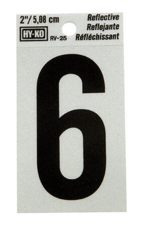 Hy-Ko Self-Adhesive Black Reflective Vinyl Number 6 2 in.