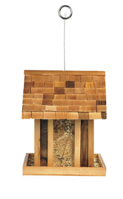Perky-Pet Wild Bird 3.5 lb. Cedar Hopper Mountain Chapel Seed Feeder