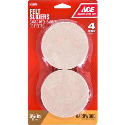 Ace Felt Round Slide Glide Brown 3-1/2 in. W 4 pk