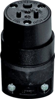 Leviton Residential Rubber Grounding Connector 5-15R 18-12 AWG 2 Pole 3 Wire Black