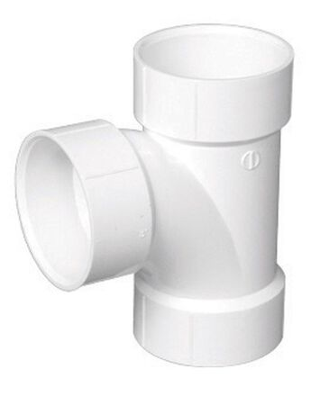 Charlotte Pipe 4 in. Dia. x 4 in. Dia. x 4 in. Dia. Schedule 40 Hub To Hub To Hub PVC Sanitary T