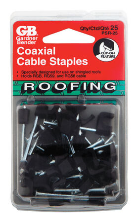 GB 1/4 in. W Zinc-plated Plastic Insulated Coaxial Roofing Staple 25