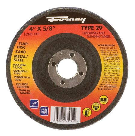 Forney 4 in. Dia. x 5/8 in. Blue Zirconia Flap Disc 36 Grit