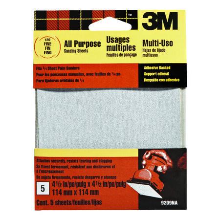 3M 4-1/2 in. L x 4-1/2 in. W 120 Grit Aluminum Oxide Sandpaper 5 pk