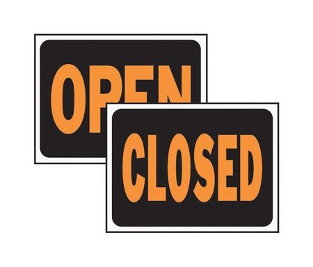 Hy-Ko English 9 in. H x 12 in. W Plastic Reversible Sign Open/Closed