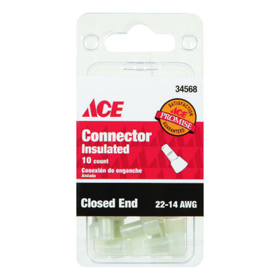 Ace Industrial 10 pk Nylon 22-14 AWG Clear Closed End Connector