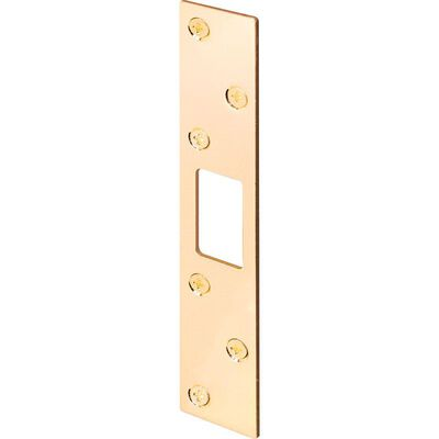 Prime-Line Security Strike 0.5 in. 1-1/8 in. x 6 in. 1-1/2 in. Brass Fits any Door Thickness 1/Carde