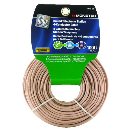 Monster Cable 100 ft. L Ivory Telephone Station 4-Conductor Wire