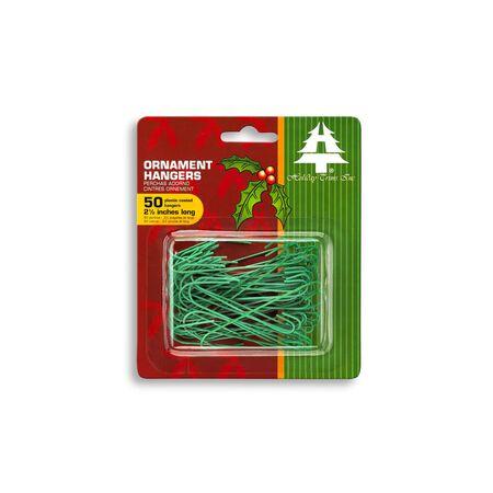 Holiday Trims Ornament Hooks Giant Ornament Hooks, 2.5 inch Green Plastic 0.5 inch 50 pk
