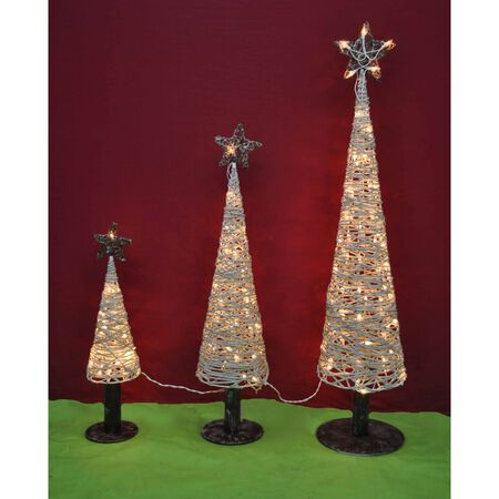 Celebrations Cone Tree LED Yard Art White Birch 3 pk