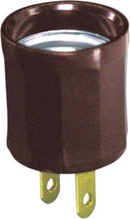 Leviton 600 watts Socket Adapter 125 volts Brown