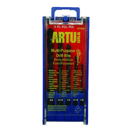ARTU Carbide Tipped Straight Shank Multi Size in. Dia. Drill Bit 5 pc.
