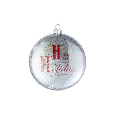 "4"" Happy Holidays Disc Ornament"