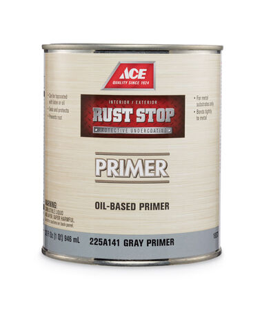 Ace Rust Stop Gray Flat Oil-Based Alkyd Resin Primer 1 qt.