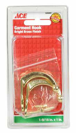 Ace Small Single Garment Hook 1-3/4 in. L Brass 2 pk