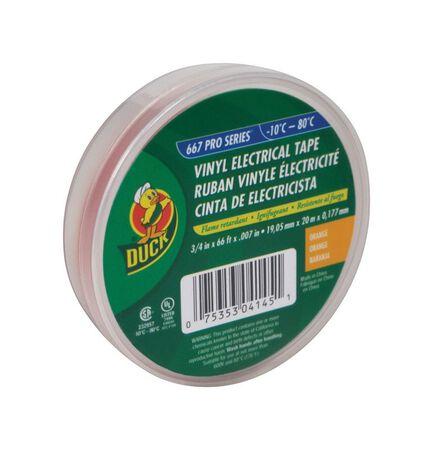 Duck 3/4 in. W x 66 ft. L Vinyl Electrical Tape Orange