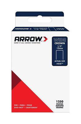 Arrow Fastener #858 Wide Crown Standard Staples Galvanized Steel 1/2 in. L 1250 pk