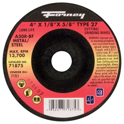Forney 4 in. Dia. x 5/8 in. x 1/8 in. thick Metal Grinding Wheel